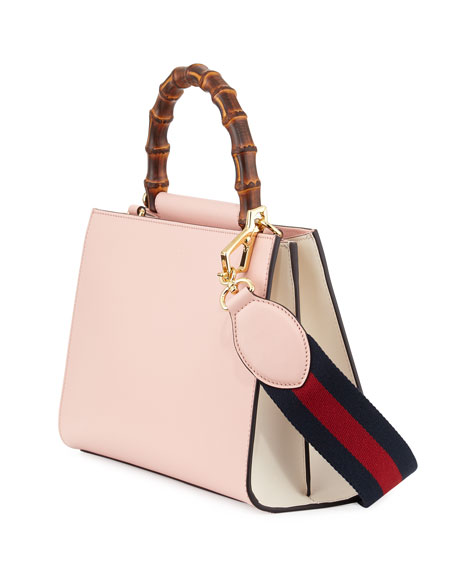 Gucci Nymphea Small Bamboo Handle Tote Bag Soft Pink White Neiman Marcus