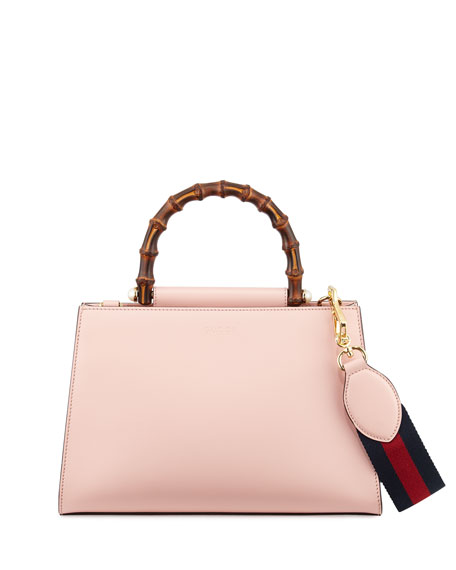 Gucci Nymphea Small Bamboo-Handle Tote Bag, Soft Pink/White