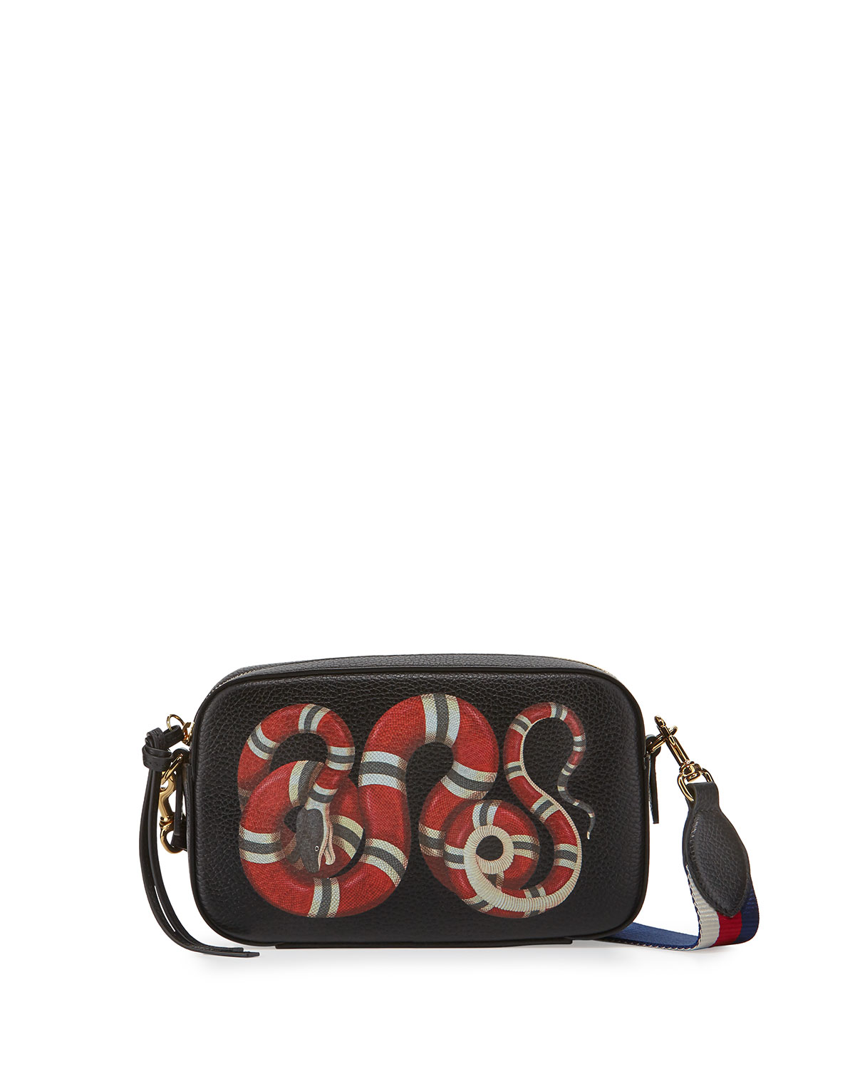 5a28f849d9bd Gucci Merveilles Small Snake-Print Camera Bag, Black/Red/White ...