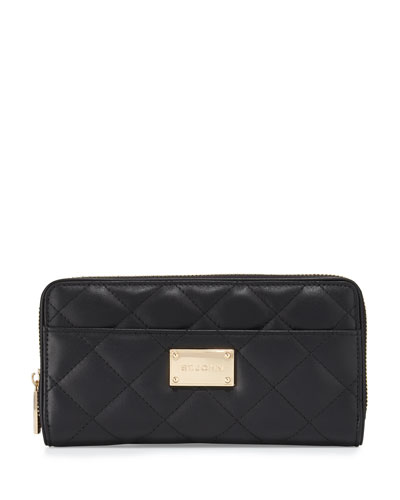 Quilted Leather Continental Wallet, Black/Gold