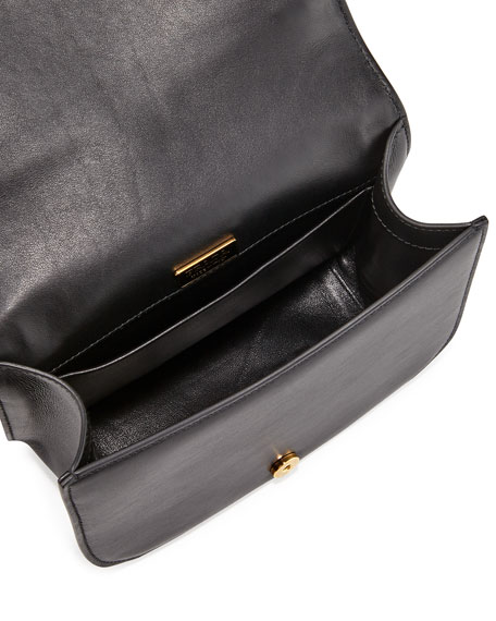 Pionniere Leather Shoulder Bag, Black (Nero)