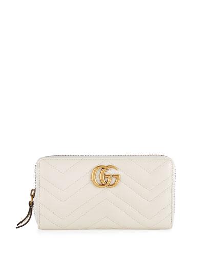 GG Marmont Zip-Around Wallet, White