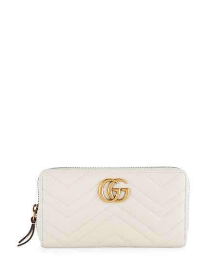 GG Marmont Zip-Around Wallet, White