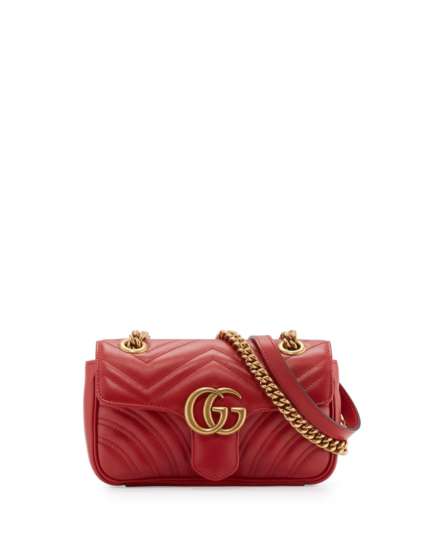 199305017c GG Marmont Matelassé Mini Bag, Red