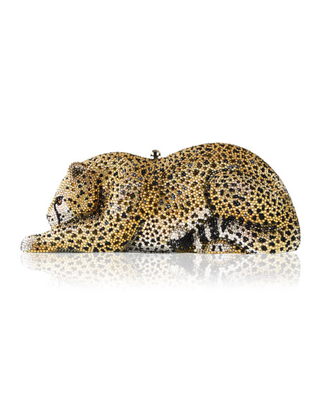 Judith Leiber Couture Crystal-Embellished Wildcat Clutch Bag