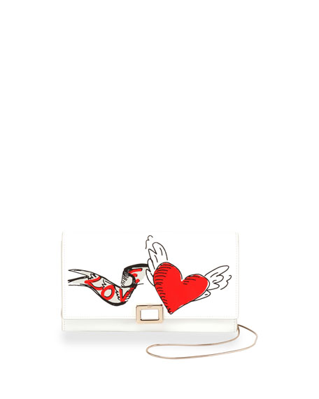 Love Tattoo Mini Buckle Wallet-on-Chain, White