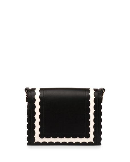 Viv Mini Scalloped Shoulder Bag, Black/White