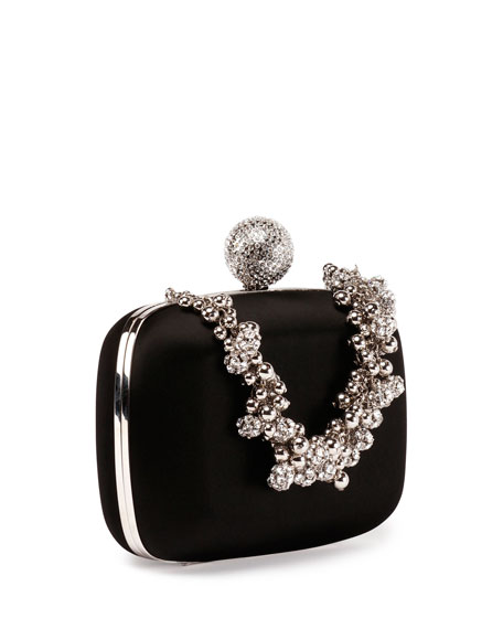 Boîte de Nuit Satin Evening Clutch Bag, Black