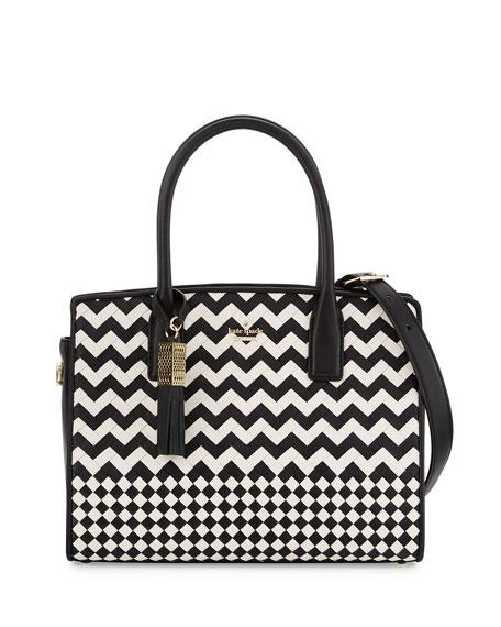 ridley street blanca woven satchel bag, black/cememt