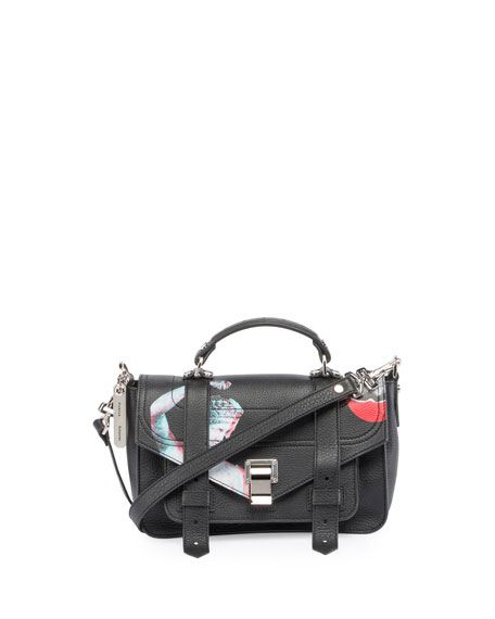 Proenza Schouler PS1 Tiny Printed Leather Satchel Bag,