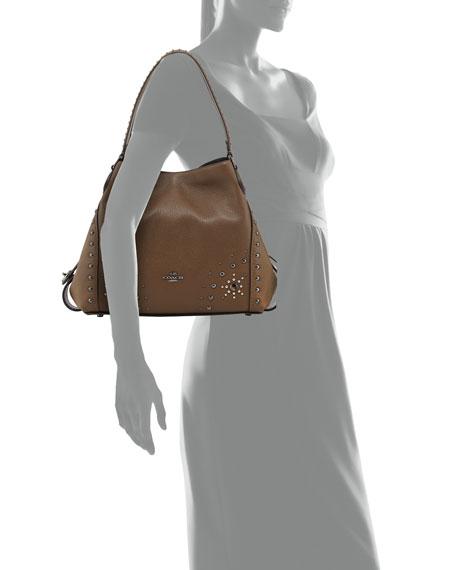 Edie 31 Western-Rivets Shoulder Bag, Brown