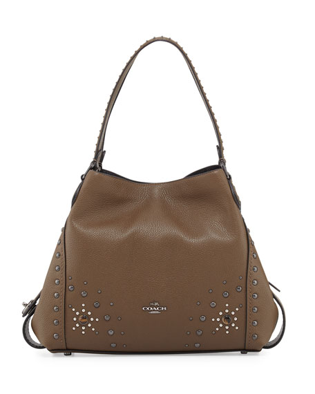 Coach Edie 31 Western-Rivets Shoulder Bag, Brown