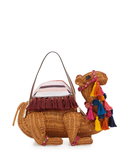 spice things up wicker camel bag, natural/multi