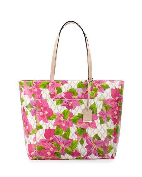 bayard place riley floral tote bag, pink