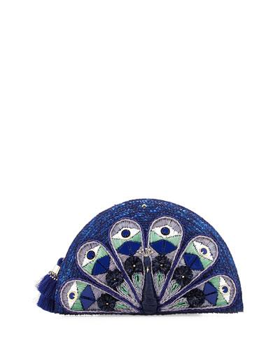 full plume straw peacock clutch bag, blue/multi