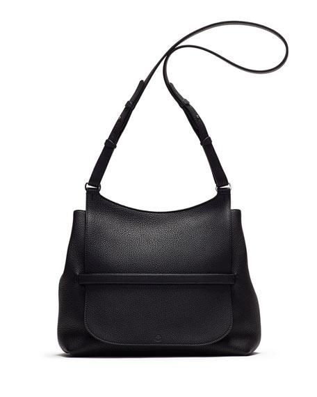 The Row Sideby Pebbled Calfskin Crossbody Bag, Black