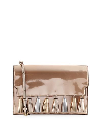 Sofia Tassel Patent Leather Clutch Bag, Pink