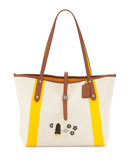 Coach Market Space Appliqué Tote Bag, Neutral/Yellow