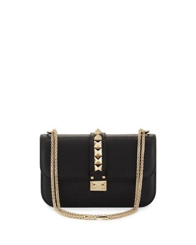 Rockstud Flap Shoulder Bag  Black