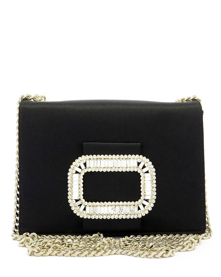 Pilgrim Micro Satin Chain Shoulder Bag, Black