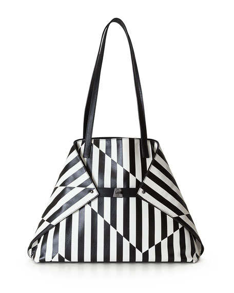 Akris Ai Medium Striped Convertible Tote Bag, Black/White