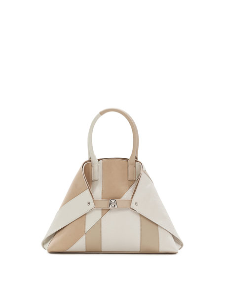 Akris Ai Small Patchwork Python Shoulder Bag, White/Brown