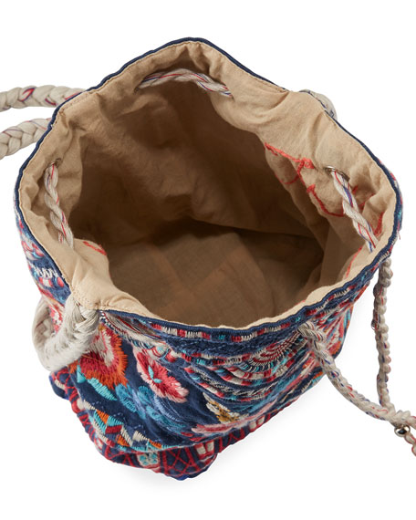 Mina Embroidered Linen Bucket Bag, Navy