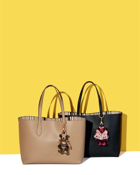 Lavenby Medium Reversible Check & Leather Tote Bag, Black
