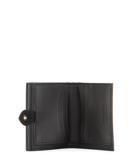 Luna Small Leather & Check French Wallet, Black