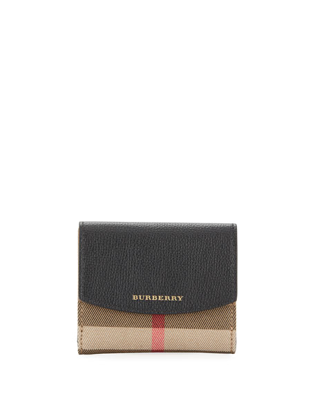 Burberry Luna Small Leather & Check French Wallet,