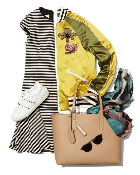Lavenby Medium Reversible Check & Leather Tote Bag, Brown