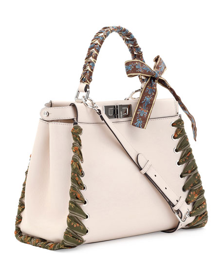 Peekaboo Medium Ribbon Whipstitch Satchel Bag, Beige