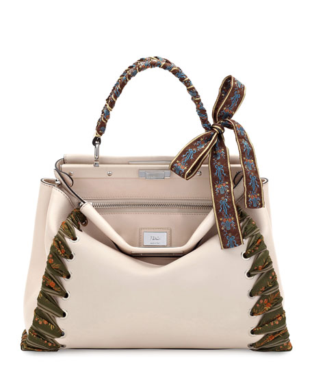 Fendi Peekaboo Medium Ribbon Whipstitch Satchel Bag, Beige