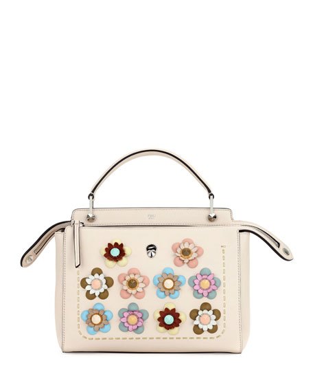 Fendi Dotcom Medium Flower Studded Satchel Bag, Beige