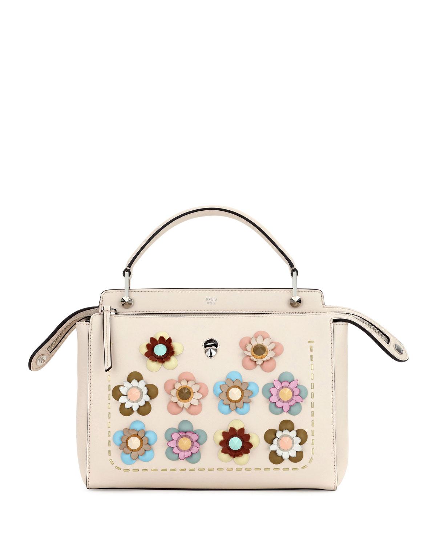 Fendi Dotcom Medium Flower Studded Satchel Bag, Beige   Neiman Marcus 246f71bbaf
