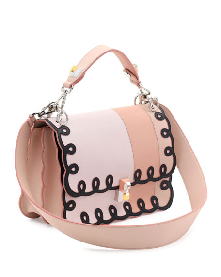 Fendi Kan I Swirl Leather Shoulder Bag, Pink