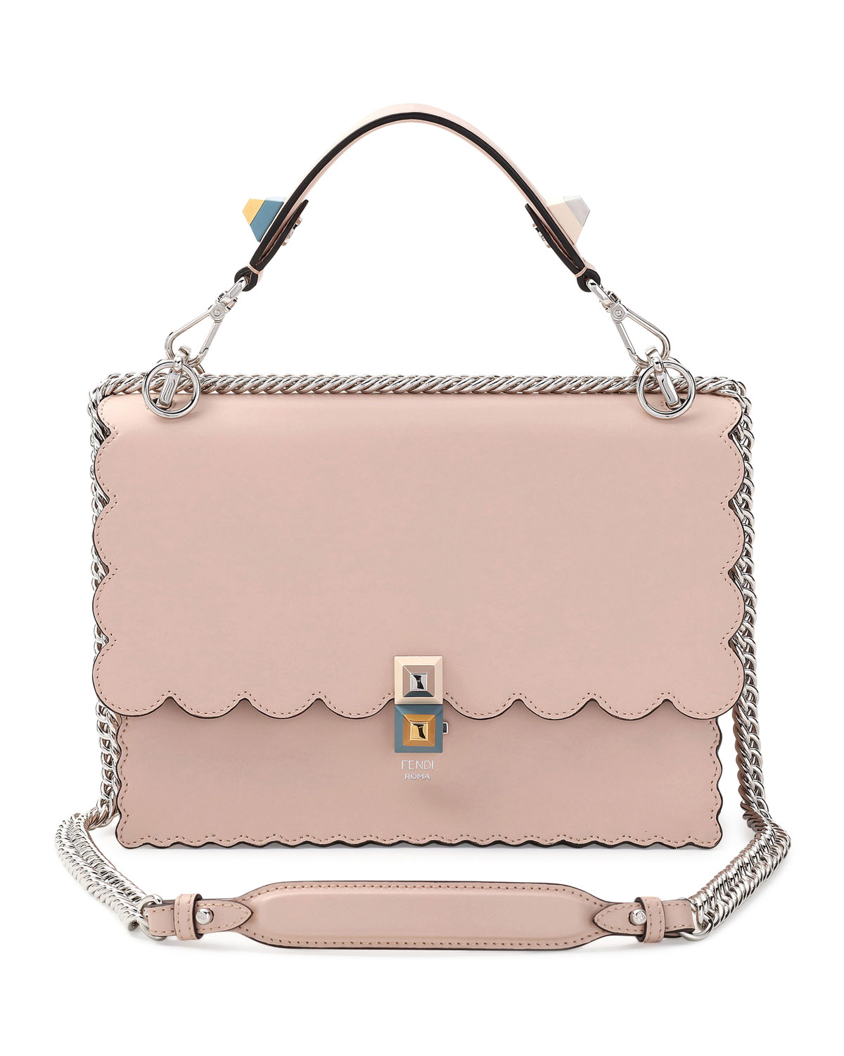 d21157a0363 Fendi Kan I Scalloped Leather Shoulder Bag, Pink | Neiman Marcus