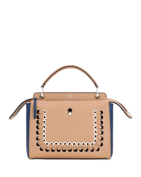 Fendi Dotcom Medium Colorblock Whipstitch Satchel Bag, Brown/Blue