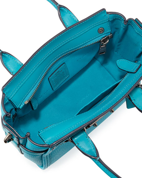 Swagger 21 Leather Satchel Bag, Turquoise