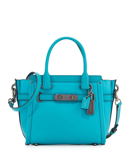 Coach Swagger 21 Leather Satchel Bag, Turquoise | Neiman Marcus