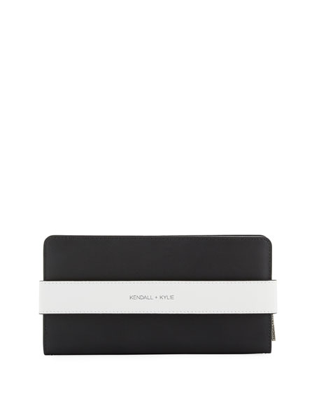 Rosie Banded Leather Wallet, White/Black