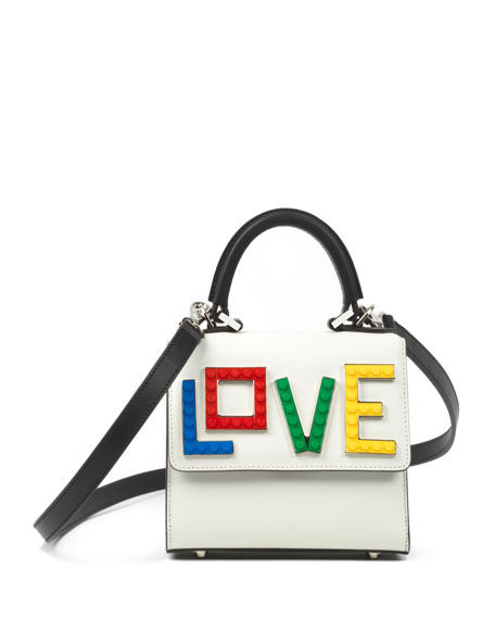 Micro Alex Rainbow Love Satchel Bag, White/Black