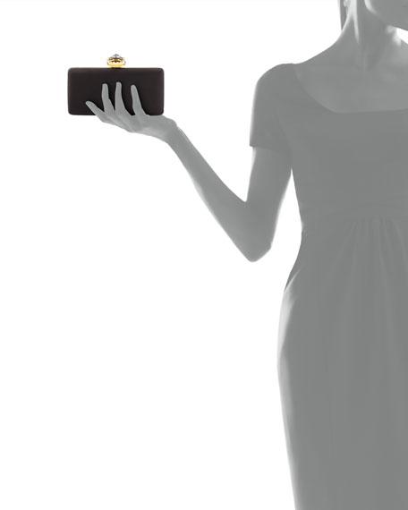 Satin Heart-Clasp Frame Clutch Bag