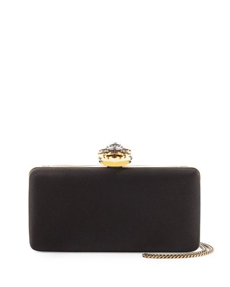 Alexander McQueen Satin Heart-Clasp Frame Clutch Bag