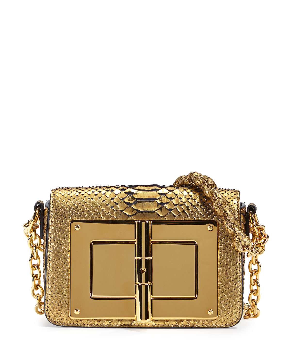 39fee0a8b657 TOM FORD Natalia Metallic Python Chain Shoulder Bag