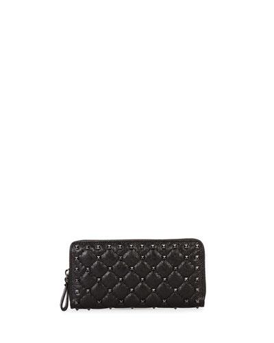 Rockstud Quilted Zip-Around Wallet  Black