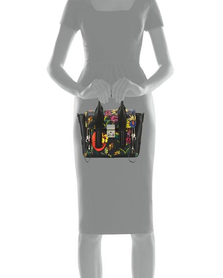 Pashli Mini Floral Leather Satchel Bag, Black/Multi