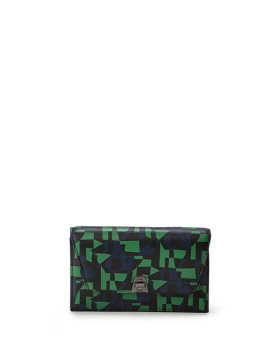 Anouk Mini Printed Chain Envelope Clutch Bag, Green/Multi
