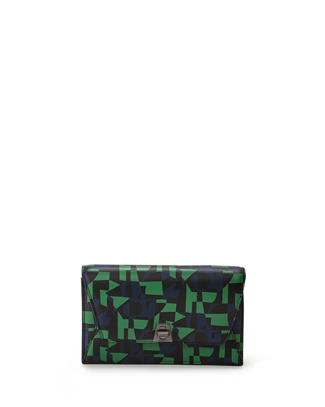 Akris Anouk Mini Printed Chain Envelope Clutch Bag,