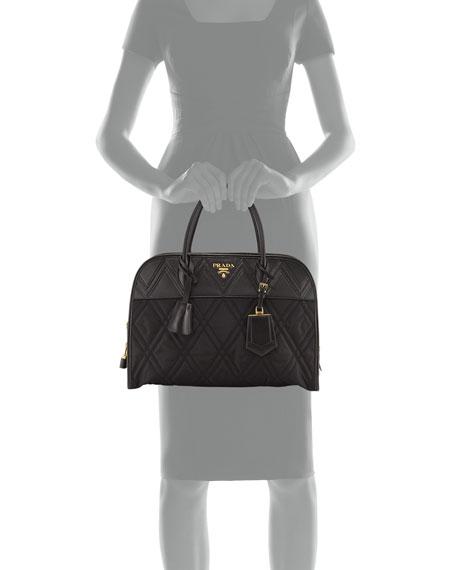 Greca Large Quilted Nylon & Leather Dome Shoulder Bag, Black